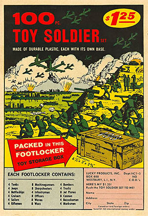 Vintage comic book ad for army men