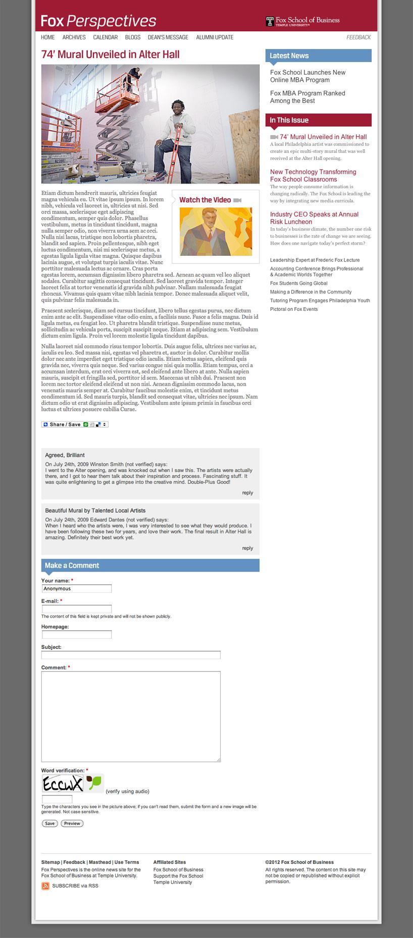 Fox School of Business Website